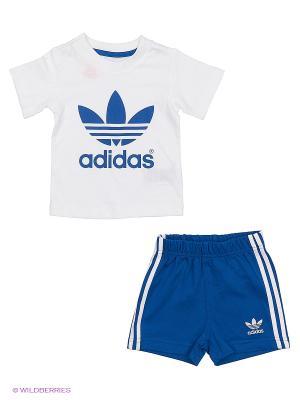 Комплект I Tee Short Set Adidas. Цвет: синий, белый