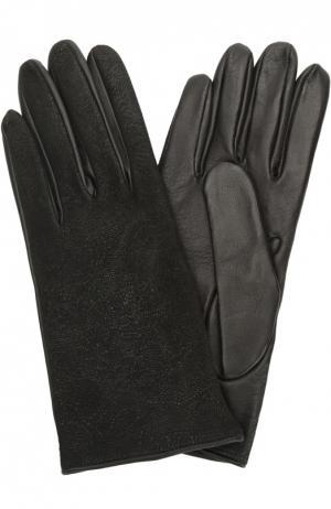 Перчатки из комбинированной кожи Sermoneta Gloves. Цвет: черный
