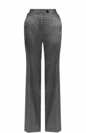 Шелковые расклешенные брюки с принтом Kiton. Цвет: черно-белый