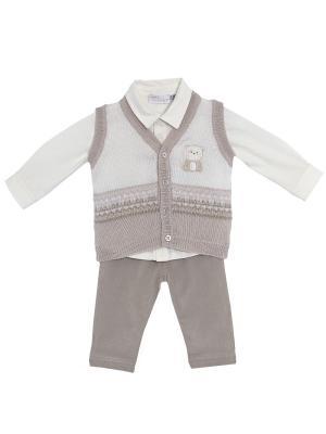 Комплект: брюки, рубашка, жилет CHICCO. Цвет: молочный, серый