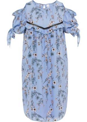 Платье с вязаной кружевной вставкой (голубой рисунком) bonprix. Цвет: голубой с рисунком