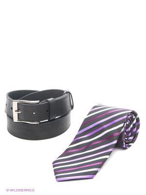 Комплект галстук, ремень Maestro. Цвет: сиреневый, черный