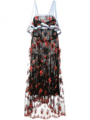 Многослойное платье с цветочной вышивкой Philosophy Di Lorenzo Serafini. Цвет: чёрный