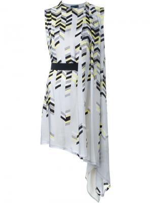 Асимметричное платье с геометрическим принтом Kolor. Цвет: серый
