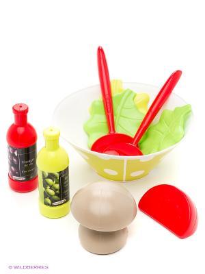 Салатный набор, 14,5*14,5*7,5см, 1/12 Ecoiffier. Цвет: зеленый, красный