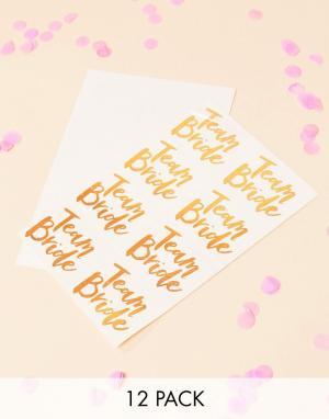 Ginger Ray Смываемая татуировка Team Bride золотисто-розового цвета -. Цвет: мульти