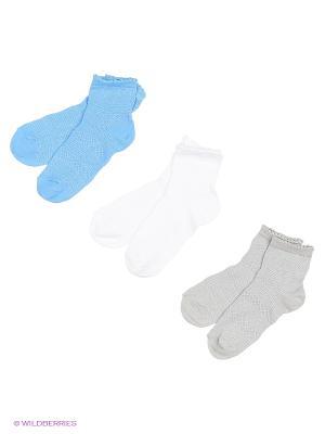 Носки - 3 пары Гамма. Цвет: белый, синий, серый