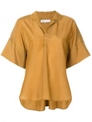 Блузка с короткими рукавами 08Sircus. Цвет: коричневый