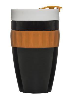 Термокружка черный/оранжевый/белый Sagaform. Цвет: черный