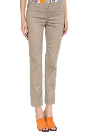 Укороченные брюки с застежкой на молнию YARMINA. Цвет: бежевый