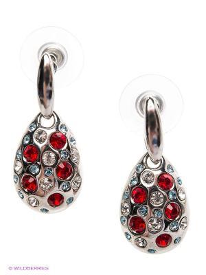 Серьги Royal Diamond. Цвет: серебристый, красный, голубой