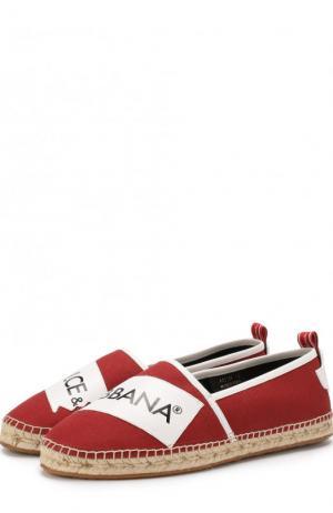Текстильные эспадрильи с кожаной отделкой Dolce & Gabbana. Цвет: красный