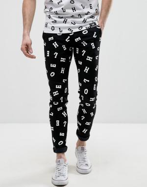 House of Holland Супероблегающие джинсы с принтом букв X Lee Malone. Цвет: черный