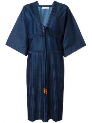 Платье с плиссировкой и V-образным вырезом Veronique Branquinho. Цвет: синий