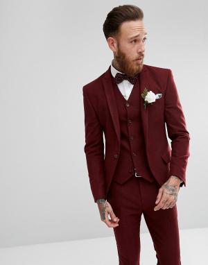 ASOS Приталенный пиджак винного цвета с шевронным узором Wedding. Цвет: красный