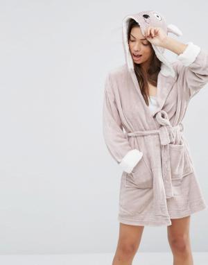 Loungeable Флисовый халат с ушками. Цвет: бежевый