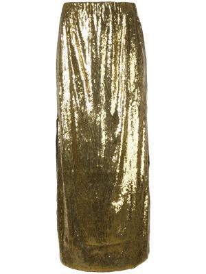 Длинная юбка с пайетками Misbhv. Цвет: металлический