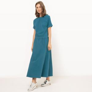Платье длинное с эластичным поясом La Redoute Collections. Цвет: красно-коричневый