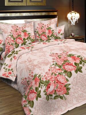 Комплект постельного белья, 1,5-сп, бязь, пододеяльник на молнии Letto. Цвет: розовый, зеленый, бежевый
