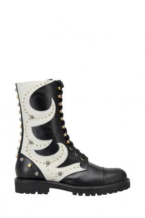 Кожаные ботинки Fausto Puglisi. Цвет: черный, белый