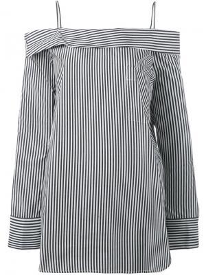 Полосатая блузка с открытыми плечами Robert Rodriguez. Цвет: белый