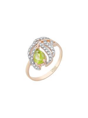 Кольцо с хризолитом и фианитом Магия Золота. Цвет: золотистый