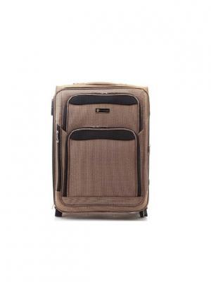 Чемодан-дорожная сумка на колесиках, размер S, 42 л Sun Voyage. Цвет: бежевый