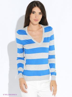 Пуловер Oodji. Цвет: синий, серый меланж
