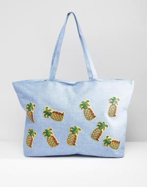 7X Дорожная сумка с нашивками. Цвет: синий