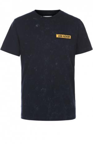 Хлопковая футболка с принтом на спине Elevenparis. Цвет: черный