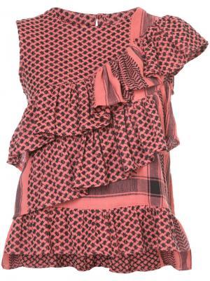 Топ с оборками и геометрическим узором Cecilie Copenhagen. Цвет: красный