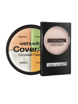 Набор № 87 корректор 4 тона + пудра coverall Wet n Wild. Цвет: прозрачный, бежевый, зеленый, розовый