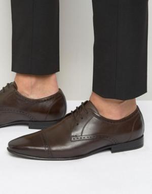 Frank Wright Коричневые оксфордские туфли со вставкой на носке. Цвет: коричневый