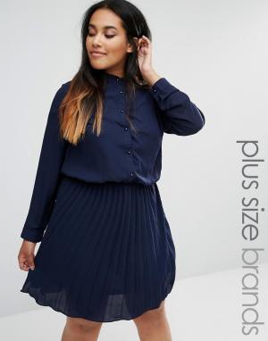 Praslin Короткое приталенное платье с плиссированной юбкой Plus. Цвет: темно-синий