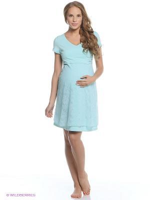 Сорочка для беременных и кормящих Hunny Mammy. Цвет: бирюзовый