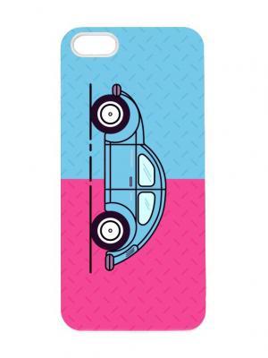 Чехол для iPhone 5/5s Розово-голубой жук Арт. IP5-283 Chocopony. Цвет: белый, черный