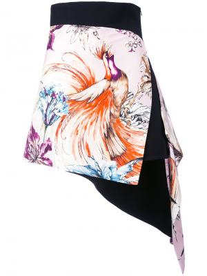 Асимметричная мини-юбка Fausto Puglisi. Цвет: чёрный