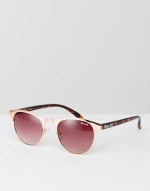 Miss KG Солнцезащитные очки с круглой оправой персикового цвета. Цвет: бежевый