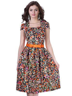 Платье OLIVEGREY. Цвет: оранжевый, черный