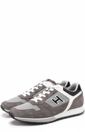 Комбинированные кроссовки с контрастной отделкой Hogan. Цвет: серый