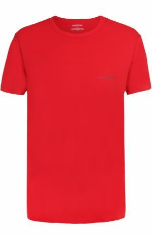 Хлопковая футболка с круглым вырезом Emporio Armani. Цвет: красный