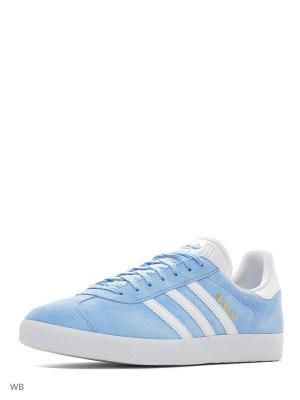 Кеды муж. GAZELLE  CLESKY/WHITE/GOLDMT Adidas. Цвет: голубой, белый