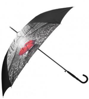 Зонт-трость с куполом из полиэстера FLIORAJ. Цвет: серый