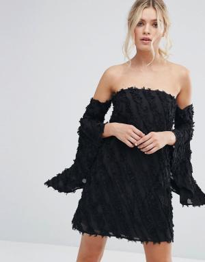 C/meo Collective Платье с расклешенными рукавами Recollection. Цвет: черный