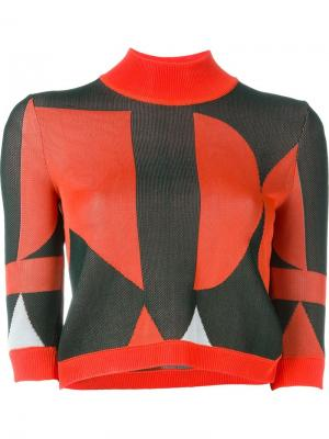 Укороченный свитер Arthur Arbesser. Цвет: жёлтый и оранжевый
