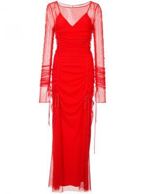 Двухслойное присборенное полупрозрачное платье Dvf Diane Von Furstenberg. Цвет: красный