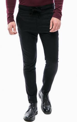 Черные шерстяные брюки на кнопке DRYKORN. Цвет: черный