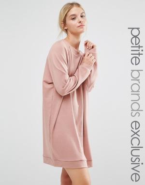 One Day Petite Платье-свитшот в стиле oversize от. Цвет: розовый