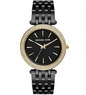 Часы круглой формы с отделкой кристаллами Michael Kors