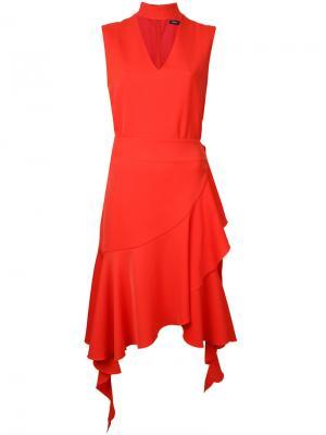 Платье с оборками и воротником-стойкой Goen.J. Цвет: жёлтый и оранжевый